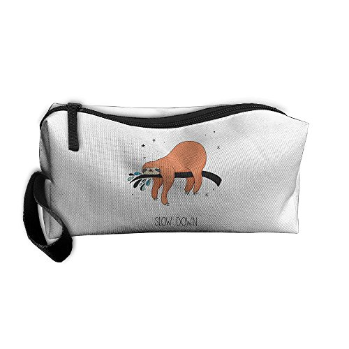 (Cosmetic Bags With Zipper Makeup Bag Sloth Slow Down Middle Wallet Hangbag Wristlet)
