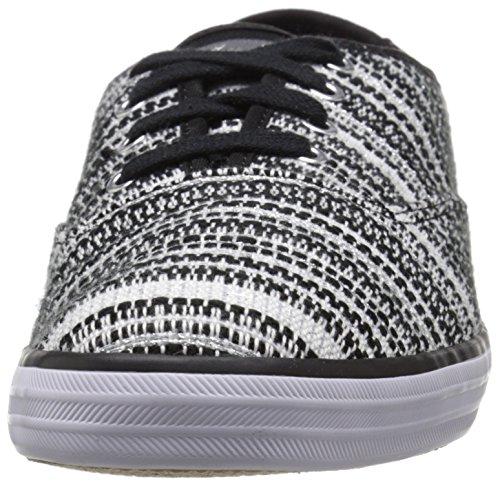 Sneaker Di Moda Nera A Strisce Con Motivo Metallico A Strisce