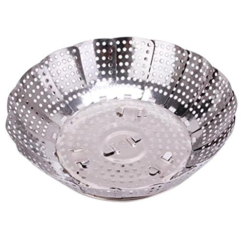 Price comparison product image Stainless Steel Foldable Mesh Food Dish Vegetable Poacher Steamer Basket Tool