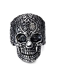 Stainless Steel Skull Head Rings for Men Women Vintage Gothic Rings