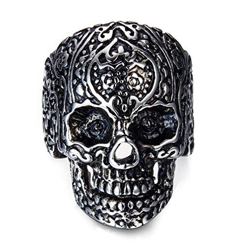 Acero inoxidable anillos de calavera para hombre Mujer clásico gótico anillos, Negro, 10