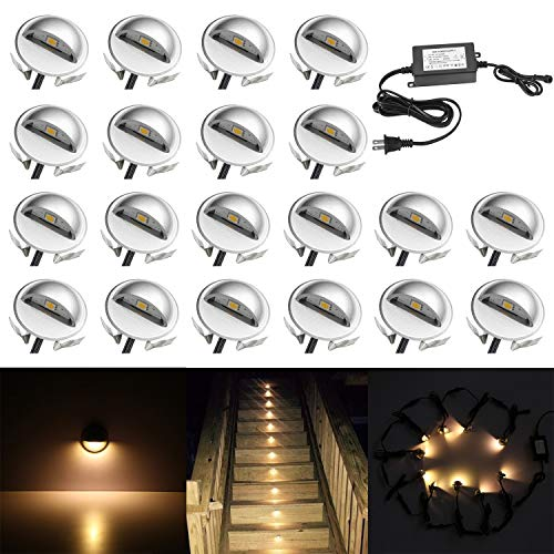 (QACA 20 Pack LED Stair Lights Kit Low Voltage Landscape Lights Waterproof IP65 Outdoor 1-2/5