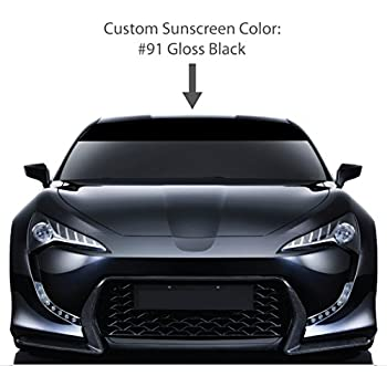 6 by 72 solid windshield sun visor screen gloss black vinyl