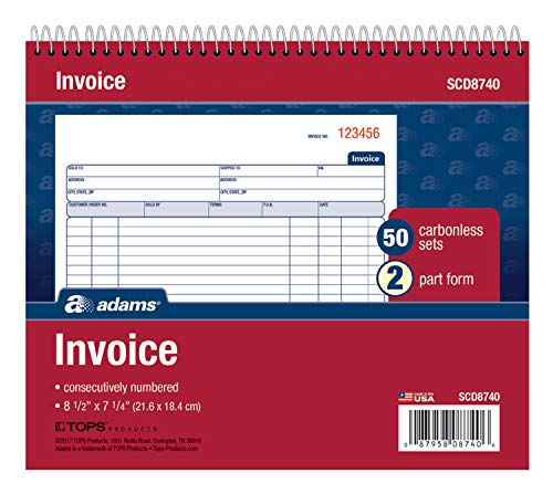 Adams Spiral Invoice Book, 8 1/2 x 7 1/4 Inches, 2-Part, Carbonless, White/Canary, 50 Sets per Book (SCD8740)