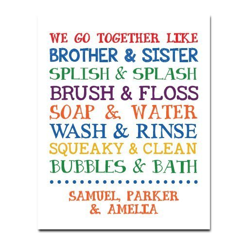 Amazoncom Children Bathroom Paper Art Print Bathroom Sign Kids