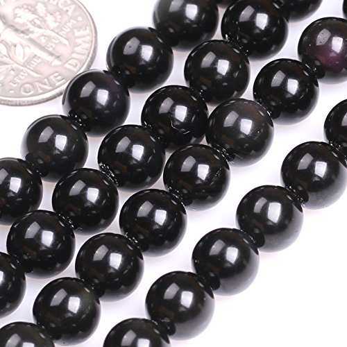 GEM-inside 8MM Round Black Obsidian Beads Strand 15 Inches