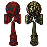 2 PACK - KENDAMA TOY CO. - The Best Kendama For All Kinds Of Fun (full size) - 2-Pack - Awesome Colors: Red/Black Crackle and Gold/Black Crackle -Solid Wood - A Tool To Create Better Hand And Eye Coordination