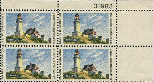 MAINE LIGHTHOUSE AT TWO LIGHTS ~ EDWARD HOPPER #1391 Plate Block of 4 x 6¢ US Postage Stamps - Edward 2 Light