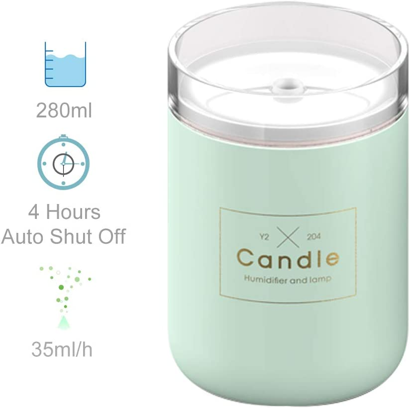 HARATA USB Cool Mist Humidifier 280ml Portable Mini Humidifier with LED 4Hours Auto Shut Off for Home, Office, Yoga Green
