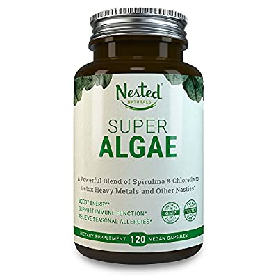 SUPER ALGAE 500mg | 120 Vegan Capsules | 50/50 Spirulina + Chlorella Superfood Powder | Support Healthy Detox Cleanse & Promote Gut Health | Naturally Sourced Non GMO Blue Green Algae Blend Supplement
