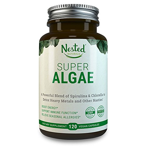SUPER ALGAE 500mg | 120 Vegan Capsules | 50/50 Spirulina + Chlorella Superfood Powder | Support Healthy Detox Cleanse & Promote Gut Health | Naturally Sourced Non GMO Blue Green ()