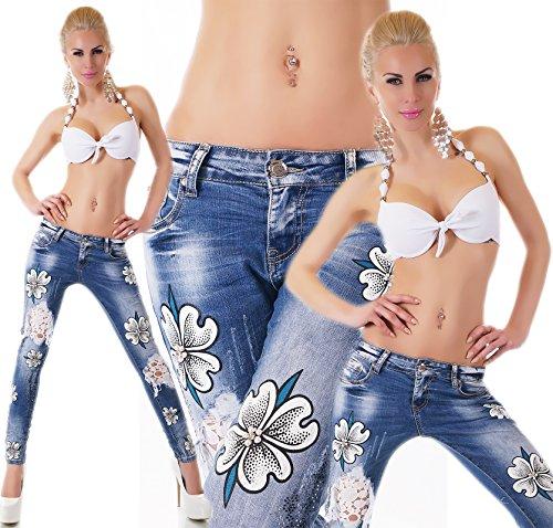 jeans donna elasticizzato pantalone fiori strass&perle strappi&pizzo slim nuovo