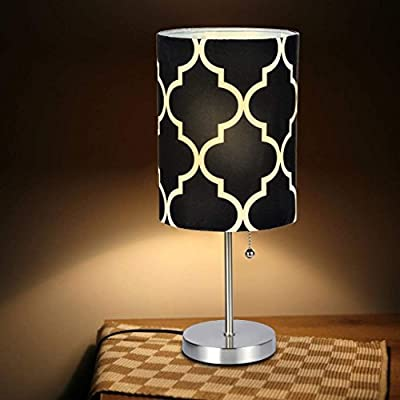 Bedside Table Lamp | Minimalist Table Lamp Bedside Desk Lamp with Round Flaxen Fabric Shade and Pull Chain Switch for Bedroom, Dresser