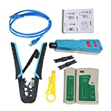 YaeTek Ethernet Network Tool Kit - Network Wire Impact Punch Down Tool, Cable Connectors Crimper Tool, Network Cable Tester Detector,Cat6 RJ45 Ethernet Patch Cables,Network Wire Stripper