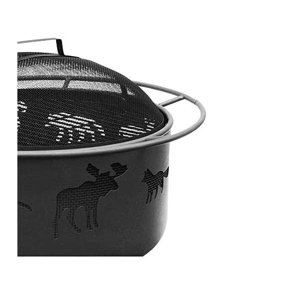 BS Wildlife Fire Pit - Outdoor fire pit with spark screen and poker Wildlife cutouts glow for a unique nighttime ambience Black finish for less cleaning - patio, outdoor-decor, fire-pits-outdoor-fireplaces - 51iLmD4wOSL. SS570  -
