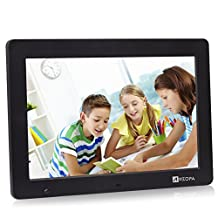 Arzopa 12 inch WideScreen Digital Photo & HD Video 1080p Frame Hi-Res 1280x800 with Motion Sensor Multifunction Advertising Player Support MP3 MP4 Video Clock Calendar (Black)