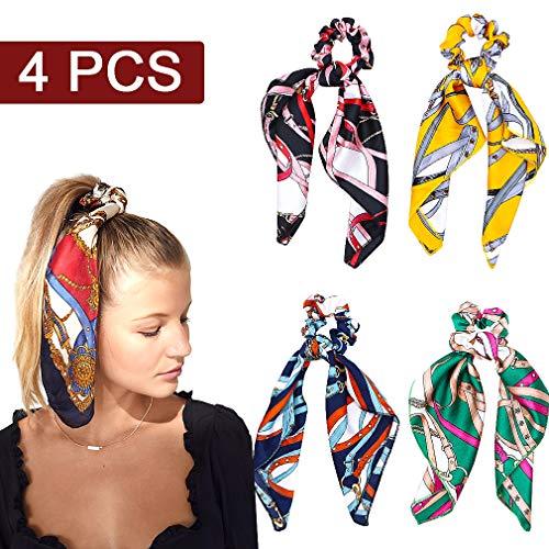 - 4 Pcs Hair Scrunchies Satin Silk Hair Scarf Band Ponytail Holder Vintage Elastics Scrunchy Ties Soft Ropes for Women Girls Hair Acessories