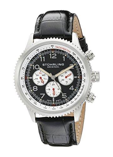 Stuhrling Original Men's 858L.01 Octane Concorso Silhouette Analog Swiss Quartz Black Croc-Textured Leather Watch