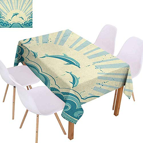 Marilec Polyester Tablecloth Dolphin Nautical Inspirations in Dolphins with Rising Sun and Swirled Ocean Waves Party W40 xL60 Teal Pale Yellow