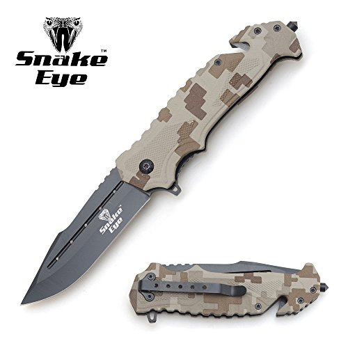 Snake Eye Tactical Rescue Style Action Assisted Pocket Knife Self Defense Everyday Carry Outdoors (BROWN DIGITAL CAMO) (Pocket Action Knife)