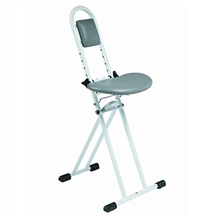 Admirable Folding Perching Ironing Stool With Padded Adjustable Height Seat Evergreenethics Interior Chair Design Evergreenethicsorg