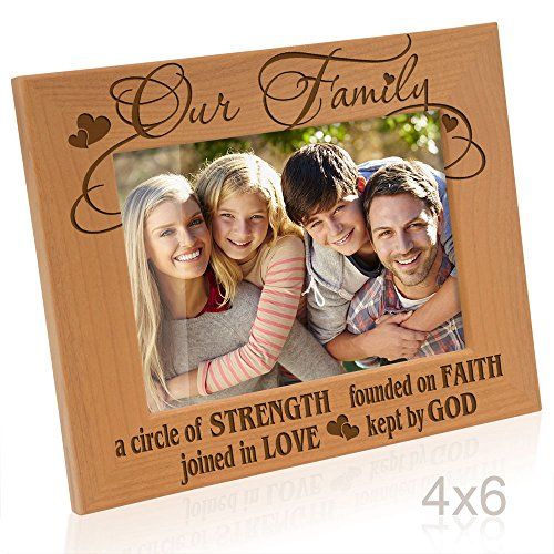 Religious Frame - Kate Posh Our Family - A Circle of Strength, Founded on Faith, Joined in Love, Kept by God Engraved Natural Wood Picture Frame,, Housewarming, Religious & Spiritual, Wedding Gifts (4x6-Horizontal)