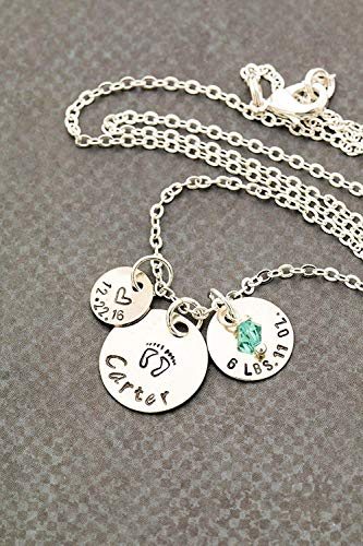 New Baby Stats Mom Necklace - DII ABC - Personalized New Baby Stats – 3/8 Inch, 1/2 Inch, 5/8 Inch 9.5MM, 12MM, 15MM Discs – Choose Birthstone – Custom Name Date Weight