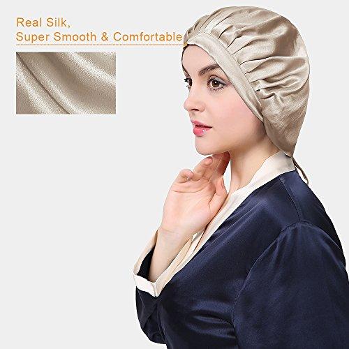 LilySilk Silk Sleep Cap for Women Traceless Half Black Elastic 100 Pure Mulberry Silk 19 Momme Flat Cap Sleeping for Hair Ivory by LilySilk (Image #5)