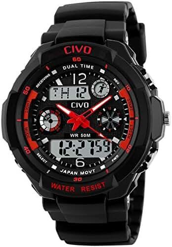 Men's Boy's Analogue Digital Sport Watch Waterproof Business Casual Fashion Military Wrist Watch (Red)