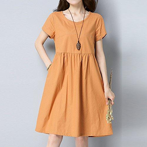 Courte pour et Casual Orange Manche Dihope Dress Lache Robe Lin Coton Rond en Couleur Uni Femme Tunique Basique t Col xqAq0wITp