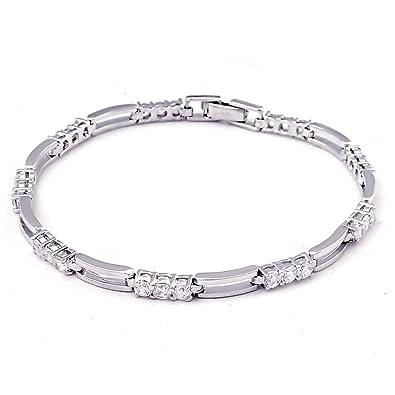 4dd9e68cf11 Sterling Silver Bracelet For Women   April-Birthstones Bracelet   4.6 Carat  White Cubic Zirconia