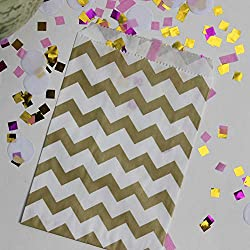 """Bakers Bling Gold Chevron Treat Bags with Stickers, 5.5"""" x 7.5"""", Set of 48 Bags and 48 Stickers"""