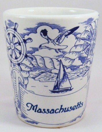 Massachusetts Nautical Pencil Sketch Ceramic Shot Glass