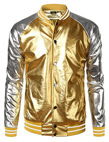 Coofandy Mens Metallic Nightclub Styles Zip Up Varsity Raglan Baseball Bomber Jacket,Gold,Large -