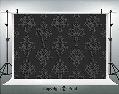 (Dark Grey Photography Backdrops Antique Damask Pattern in 3D Style Classic Old Fashioned Floral Design,Birthday Party Background Customized Microfiber Photo Studio Props,8x8ft,Charcoal Grey Dimgrey)