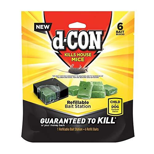 D-Con Refillable Corner Fit Mouse Poison Bait Station, 8 Traps + 48 Refills (8 Packs x 1 Trap + 6 Refills)