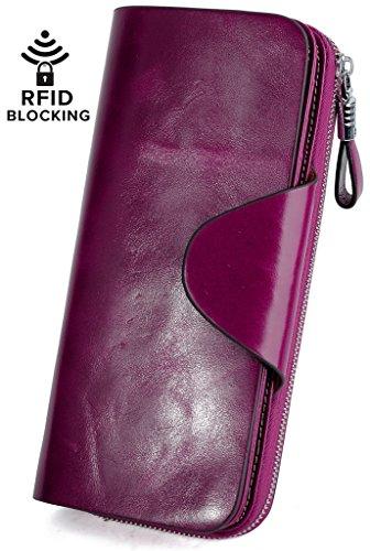YALUXE Women's RFID Blocking Large Tri-fold Leather Wallet Ladies Luxury Zipper Clutch Fuchsia by YALUXE (Image #1)'