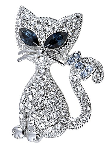 Rhinestone Kitty Cat Brooch Pin - 1
