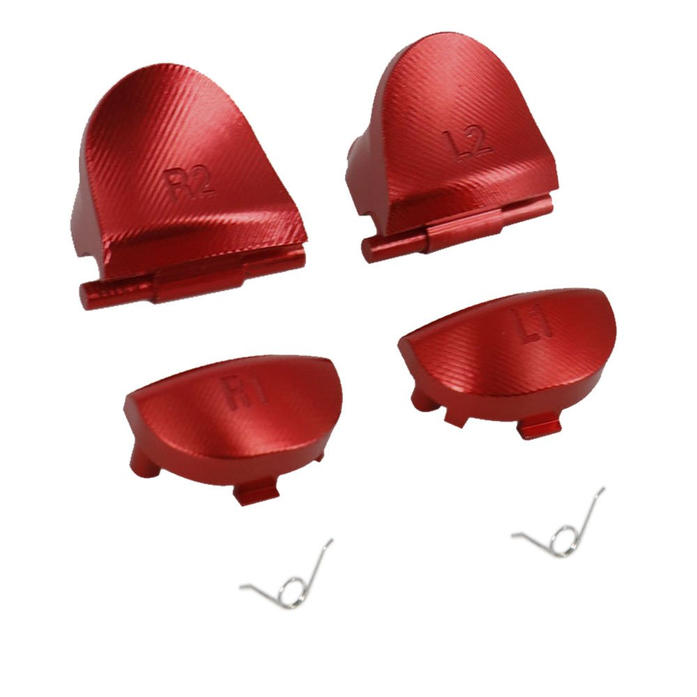 Aluminum Metal Trigger Buttons for PS4 Controller, YTTL Custom Metal L1 R1 L2 R2 Trigger Buttons for Playstation 4 DualShock 4 PS4 PS 4 PS4 Slim / PS4 Pro Play 4 Controller - Red