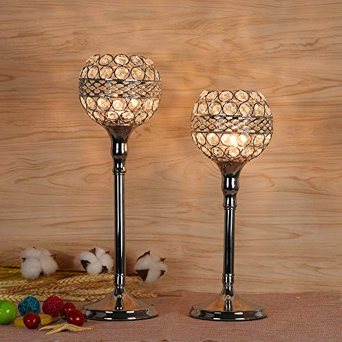Gotian Vintage with Pattern Crystal Candlestick Wedding/Plot People Gift Decorations - Valentines Day Mother's Day Modern Light Lantern Candle Holders - for Wedding Coffee Table Dining Room (L)