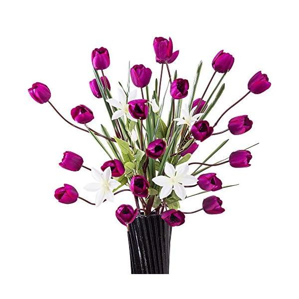 "YILIYAJIA Artificial Tulips Silk Flowers Bouquet Arrangement Long Stem Tulips Artificial Flowers Floor Flowers for Wedding Party Patio Decoration,40""(Purple)"
