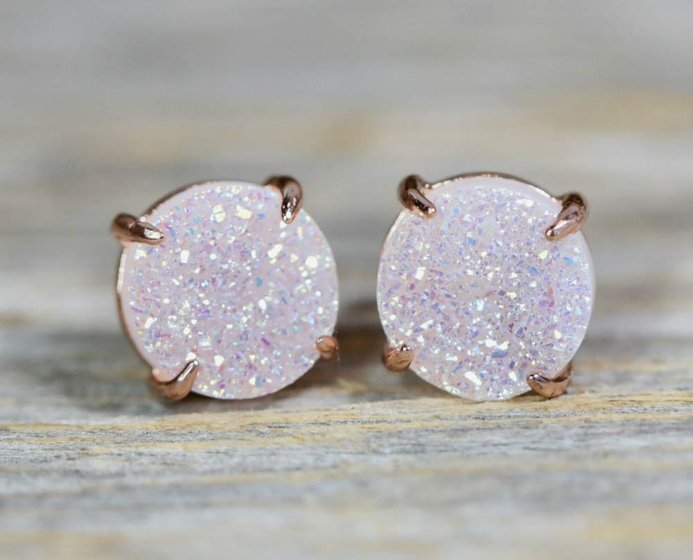 EXPRESS SHIPPING Rose Gold Plated Druzy Bracelet /& Stud Earrings Jewelry  12 mm  Bridesmaid set of 3 6 8 7 10  Gift for her 4 9 5