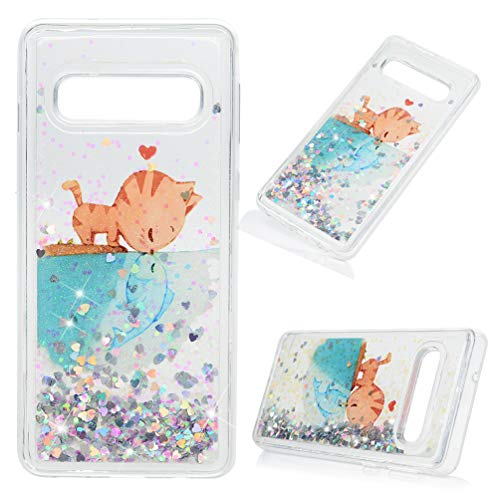 Galaxy S10 Case, Samsung Galaxy S10 Case, Mavis's Diary Liquid Glitter Case Drop Resistant Bling Shiny Sparkle Flowing Moving Hearts Shock Absorption Soft TPU Bumper Slim Fit Painting Cover Cat Fish