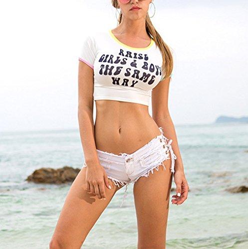 Lukis Damen Denim Hot Pants Mini Jeans Kurz Shorts mit Loch Weiß S Taille  70cm  Amazon.de  Bekleidung e852807b2b