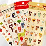 Nakimo 4 Sheets Cute Lovely Cartoon 3D DIY Decorative Puffy Adhesive Sticker Tape / Kids Craft Scrapbooking Sticker Set for Diary, Album