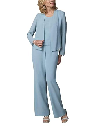 Women S Chiffon 3 Pieces Mother Of Groom Dress Pant Suits For