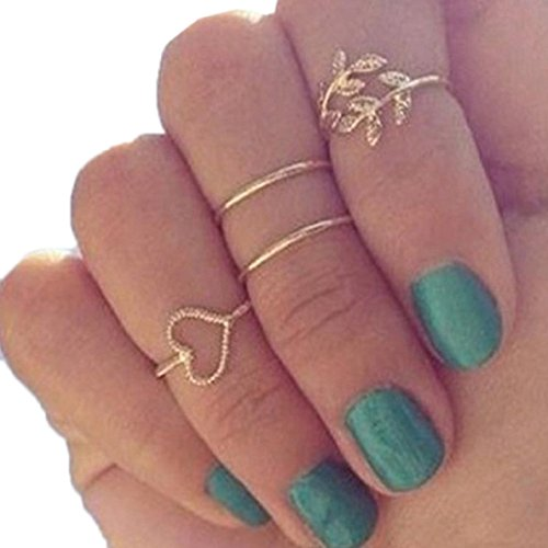 Fullkang Fashion Gold Plated Leaf Heart Joint Knuckle Nail Ring Set of Four Rings