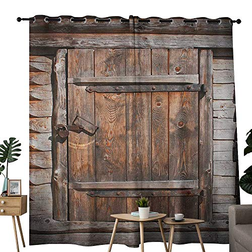 NUOMANAN Living Room Curtains Vintage,Rustic Wooden Door of Old Barn in Farmhouse Countryside Village Aged Rural Life Image, Brown,Adjustable Tie Up Shade Rod Pocket Curtain 52