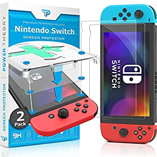 Power Theory Screen Protector for Nintendo Switch [2-Pack] with Easy Install Kit [Premium Tempered Glass for Switch Console]