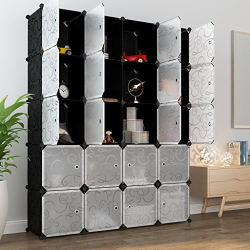 Modular Cabinet Storage Drawer (LANGRIA 20 Storage Cube Organizer Wardrobe Modular Closet Plastic Cabinet, Cubby Shelving Storage Drawer Unit, DIY Modular Bookcase Closet System with Doors for Clothes, Shoes, Toys Black and White)